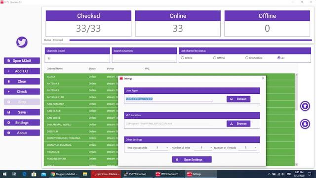 Iptv Checker -Aplicatie pentru verificat liste iptv