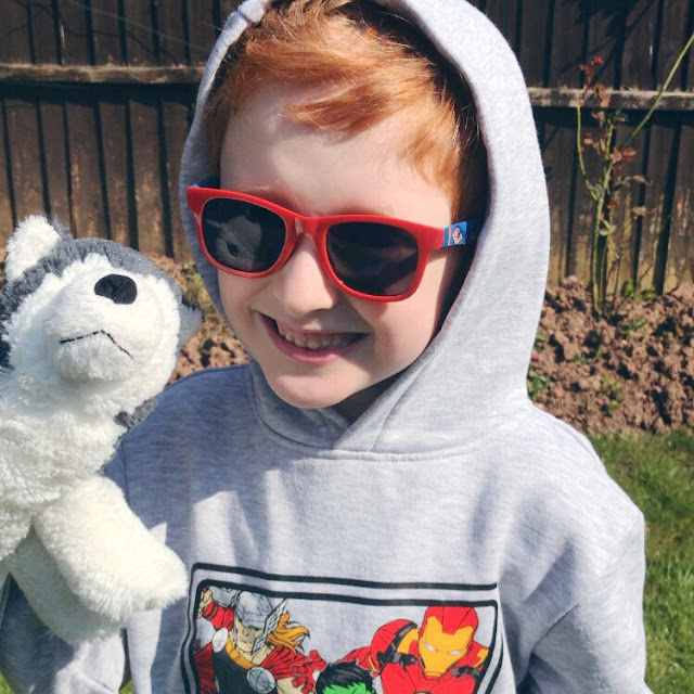 Little boy wearing sunglasses and holding a soft toy dog