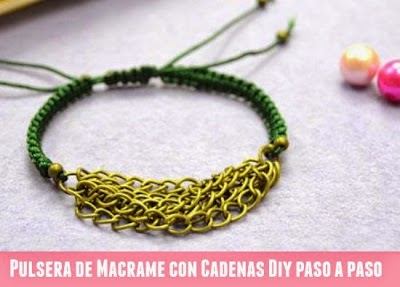 Brazalete de Macrame con Cadenas Diy