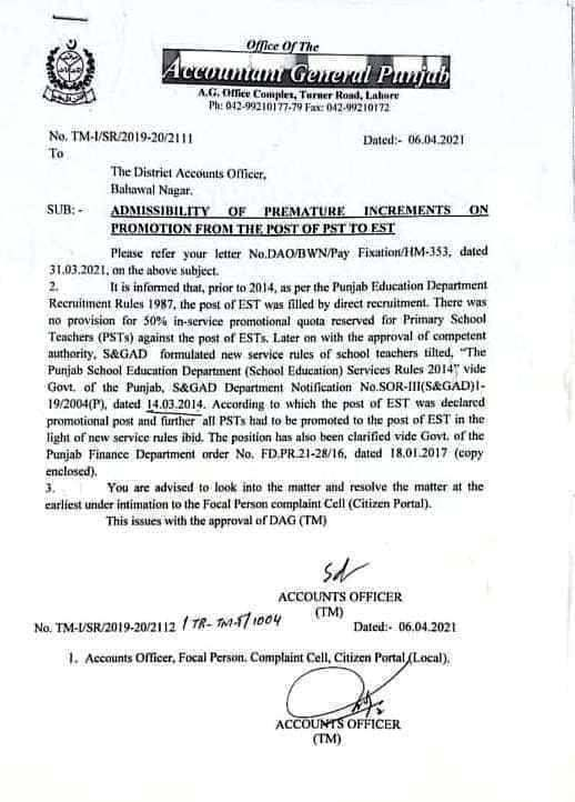 ADMISSIBILITY OF PREMATURE INCREMENTS ON PROMOTION FROM THE POST OF PST TO EST