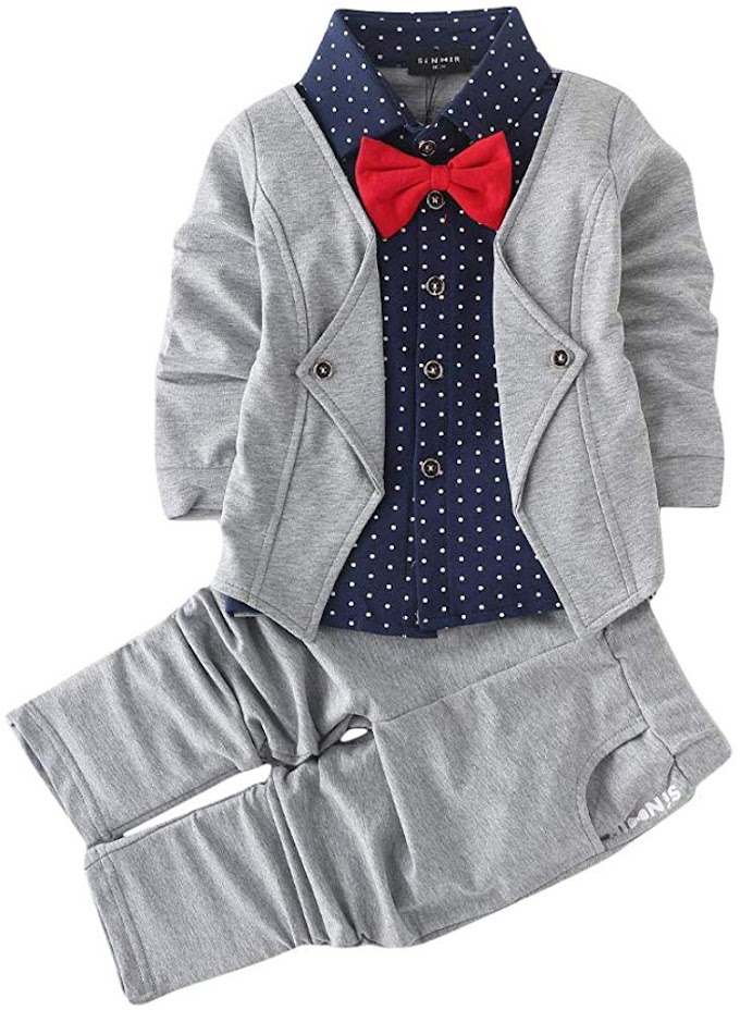 Si Noir Boy's Cotton Blazer Navy Shirt and Pant Suit Set in Gray