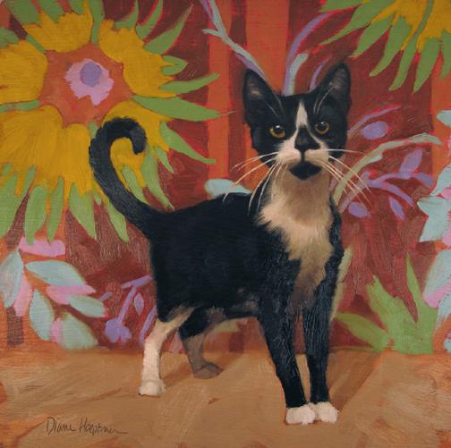 Freshman, painting of a Tuxedo Cat
