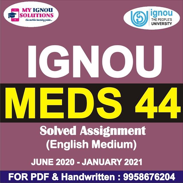 MEDS 44 Solved Assignment 2020-21