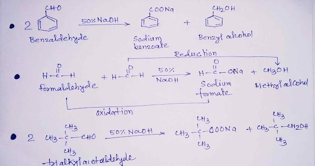 Cannizzaro reaction of benzaldehyde formaldehyde trialkylacetaldehyde