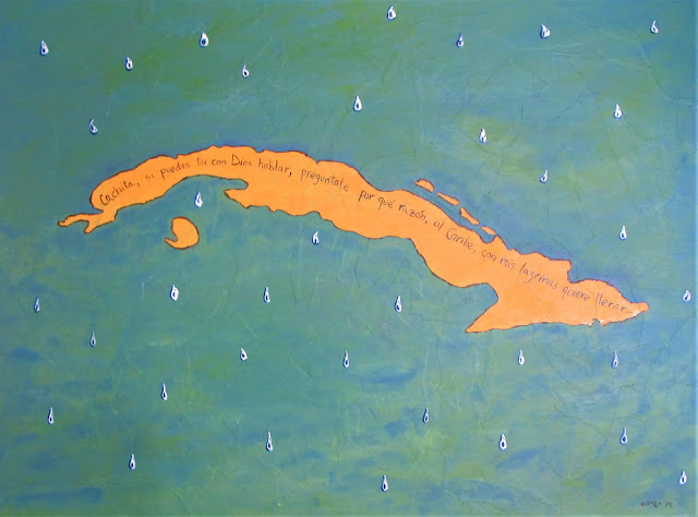 """Isla Llorona"" Oil and Acrylics on Gessoed Paper. 1978 F. Lennox Campello, 37.5 x 50 inches (framed)"