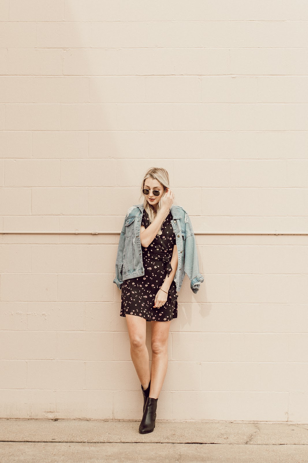 spring dress with a denim jacket