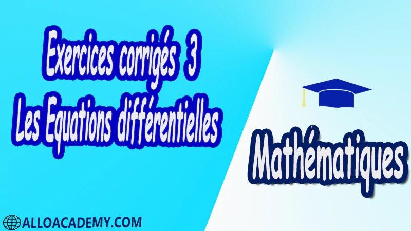 Exercices corrigés 3 Les équations différentielles pdf Mathématiques Maths Les équations différentielles Equation différentielle Interprétation Géométrique Equation différentielle du Premier Ordre Problème d'unicité Equation du 1er ordre à variable séparable Equation différentielle homogène Equation différentielle du type y0 = f(ax+ by+ c) Equation différentielle linéaire de 1er ordre Equation de Bernoulli Equation différentielle de Riccati Méthodes numériques pour les Equations différentielles Méthode d'Euler Méthode de Taylor d'ordre p Méthode de Runge-Kutta Théorème de Taylor-Lipschitz Fonction Lipschitziennes Théorème de Cauchy-Lipschitz Fonctions lipschitziennes fonction localement lipschitzienne Théorème de Cauchy-Lipschitz Systèmes linéaires à coefficients constants Exponentielle d'une matrice Système linéaire non-homogène Transformation de Laplace Stabilité des systèmes linéaires Cours résumés exercices corrigés devoirs corrigés Examens corrigés Contrôle corrigé travaux dirigés td