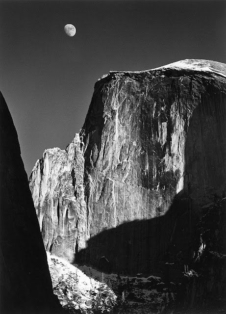 Moon and Half Dome by Ansel Easton Adams