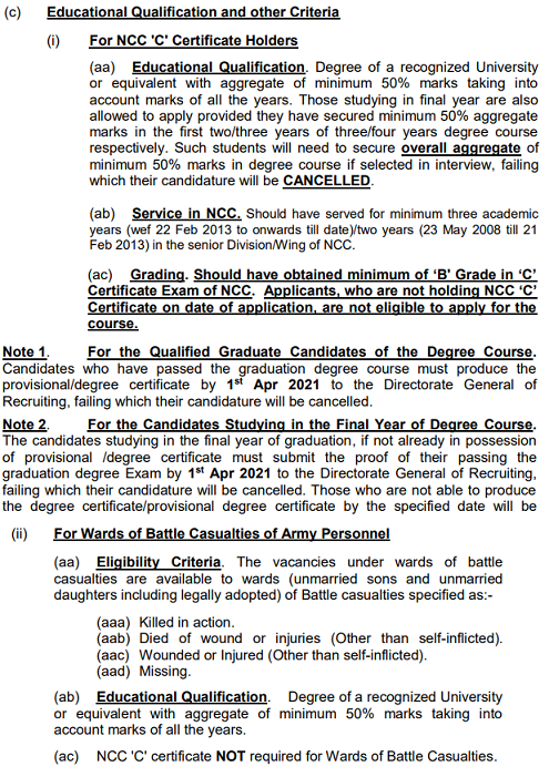Join Indian Army NCC Entry Educational Qualifications