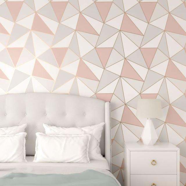 Wallpaper Dinding Kamar Tidur Mewah Motif Geometris