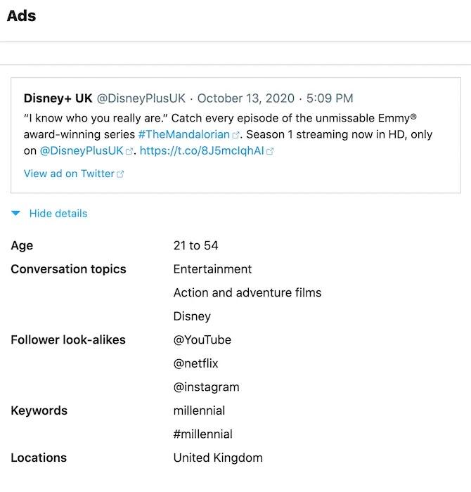يتضمن تنزيل بيانات Twitter معلومات إعلانية مفصلة.