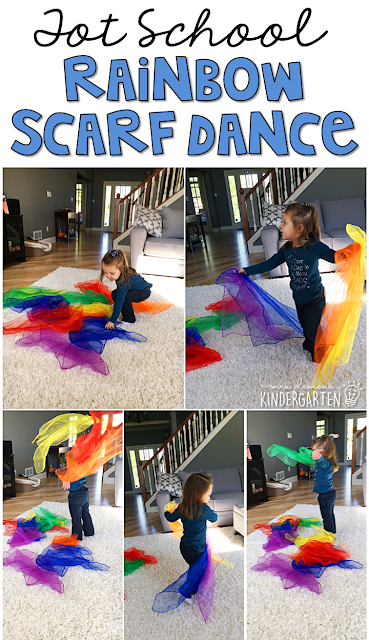 Learning is more fun when it involves movement! Have fun getting those wiggles out with this rainbow scarf dance gross motor activity. Great for tot school, preschool, or even kindergarten!
