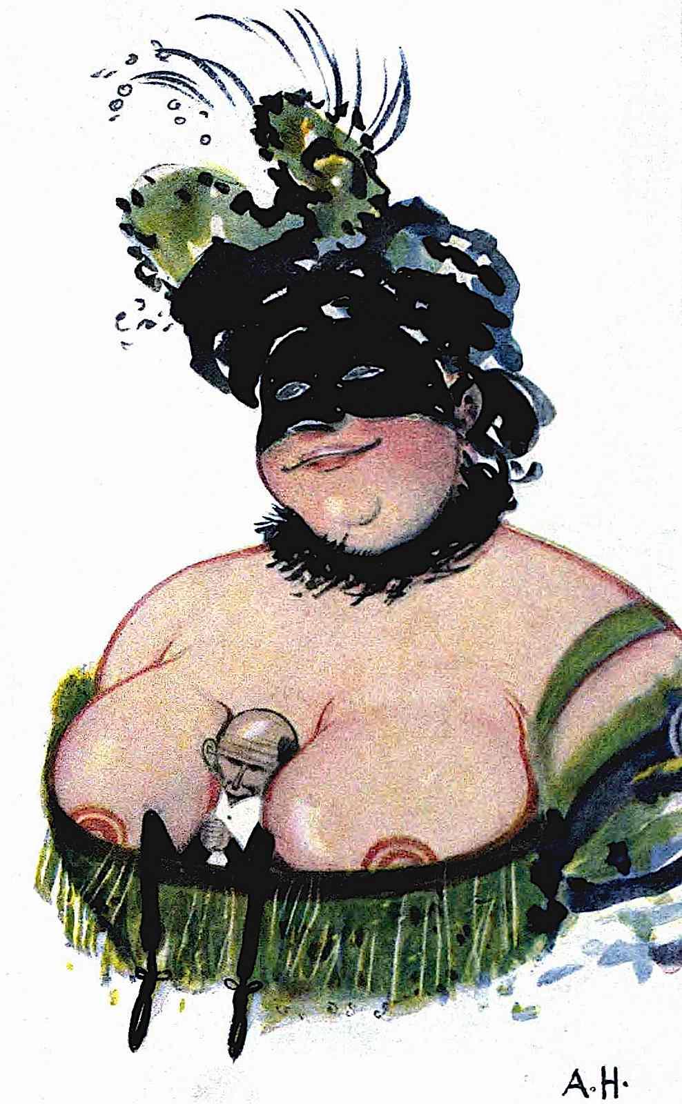 1917 German dominatrix illustration from a German humour publication