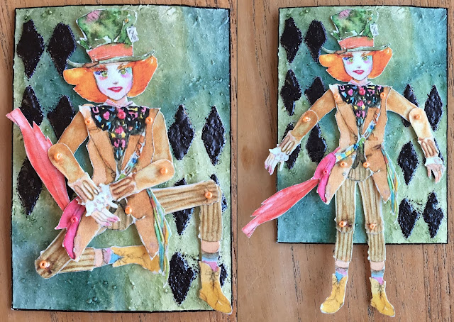 Mad Hatter movable paper doll ATC