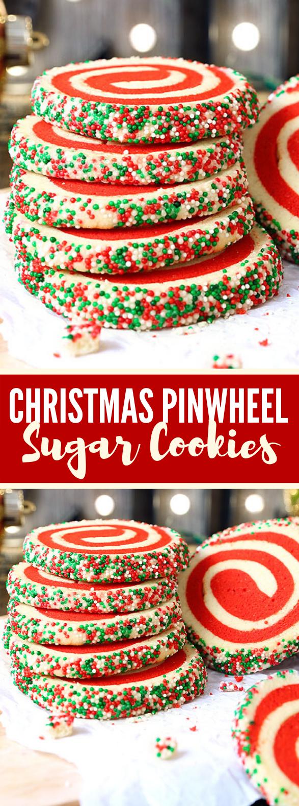 Christmas Pinwheel Sugar Cookies #desserts #sweets