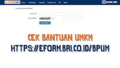 Cara Cek Penerima Bantuan UMKM di eform.bri.co.id/bpump