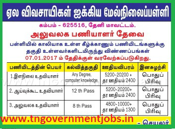 Applications are invited for Non Teaching Posts (Junior Assistant, Lab Assistant and Office Assistant) in Cardamom Planters Union Higher Secondary School Cumbam Theni (Govt Aided)