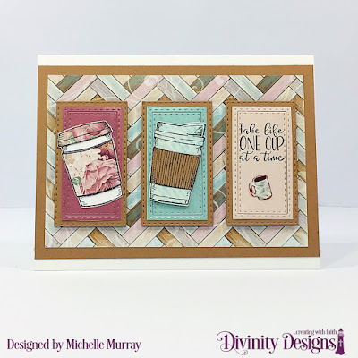 Divinity Designs Stamp/Die Duos: Hug In A Mug, Custom Dies: Double Stitched Rectangles Paper Collection: Romantic Roses