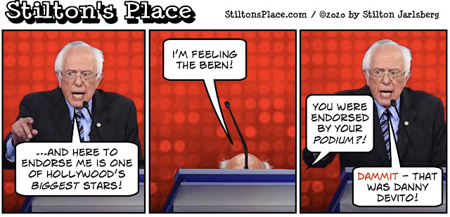 stilton's place, stilton, political, humor, conservative, cartoons, jokes, hope n' change, bernie sanders, devito, project veritas, kyle jurek, violence, socialism, communism, cuba