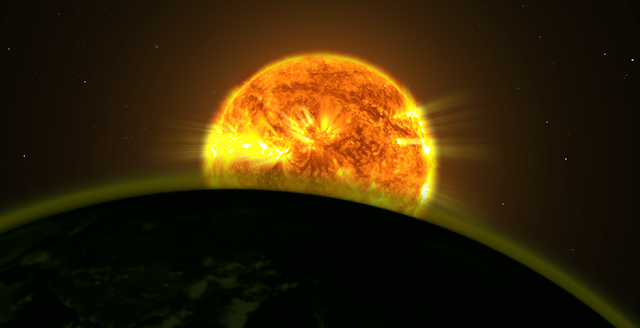 This illustration shows a star's light illuminating the atmosphere of a planet. Credits: NASA Goddard Space Flight Center