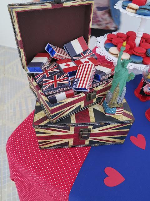 bis duplo com bandeiras dos Estados Unidos, França, Canadá, Londres. Aniversário viagem
