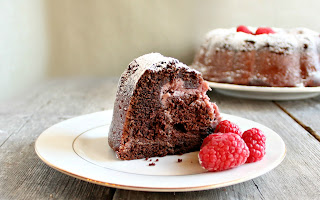 Chocolate Raspberry Swirl Bundt Cake