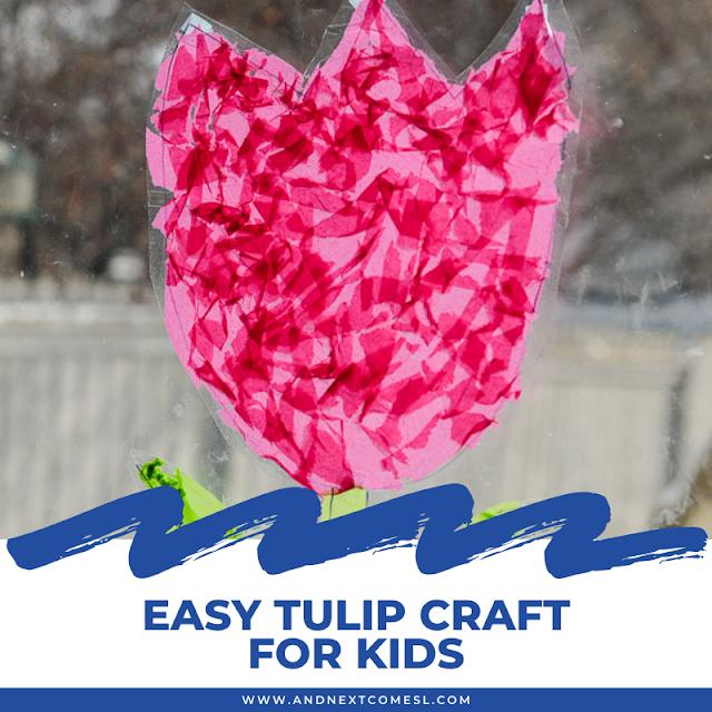 Easy suncatcher tulip craft