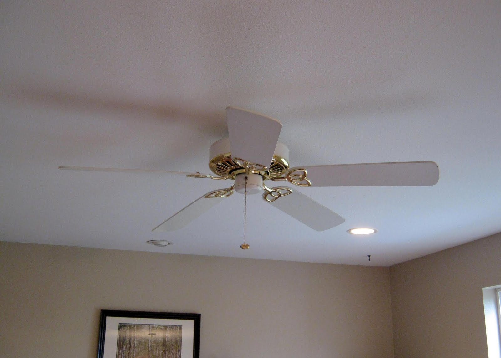 White Gold Ceiling Fan This Thrifty House Spray Paint Helps The Family Room Along