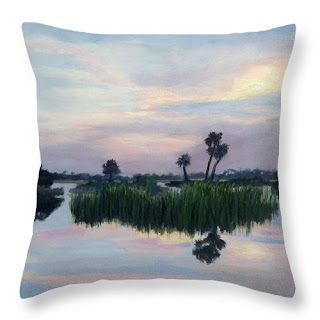 Contemporary nature Throw Pillow with reflections Palm Tree