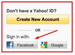 yahoo login with facebook account