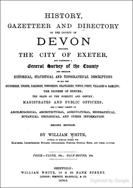History, Gazetteer and Directory of the County of Devon (William White, 1879)