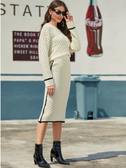 Beige cable knit sweater and skirt set
