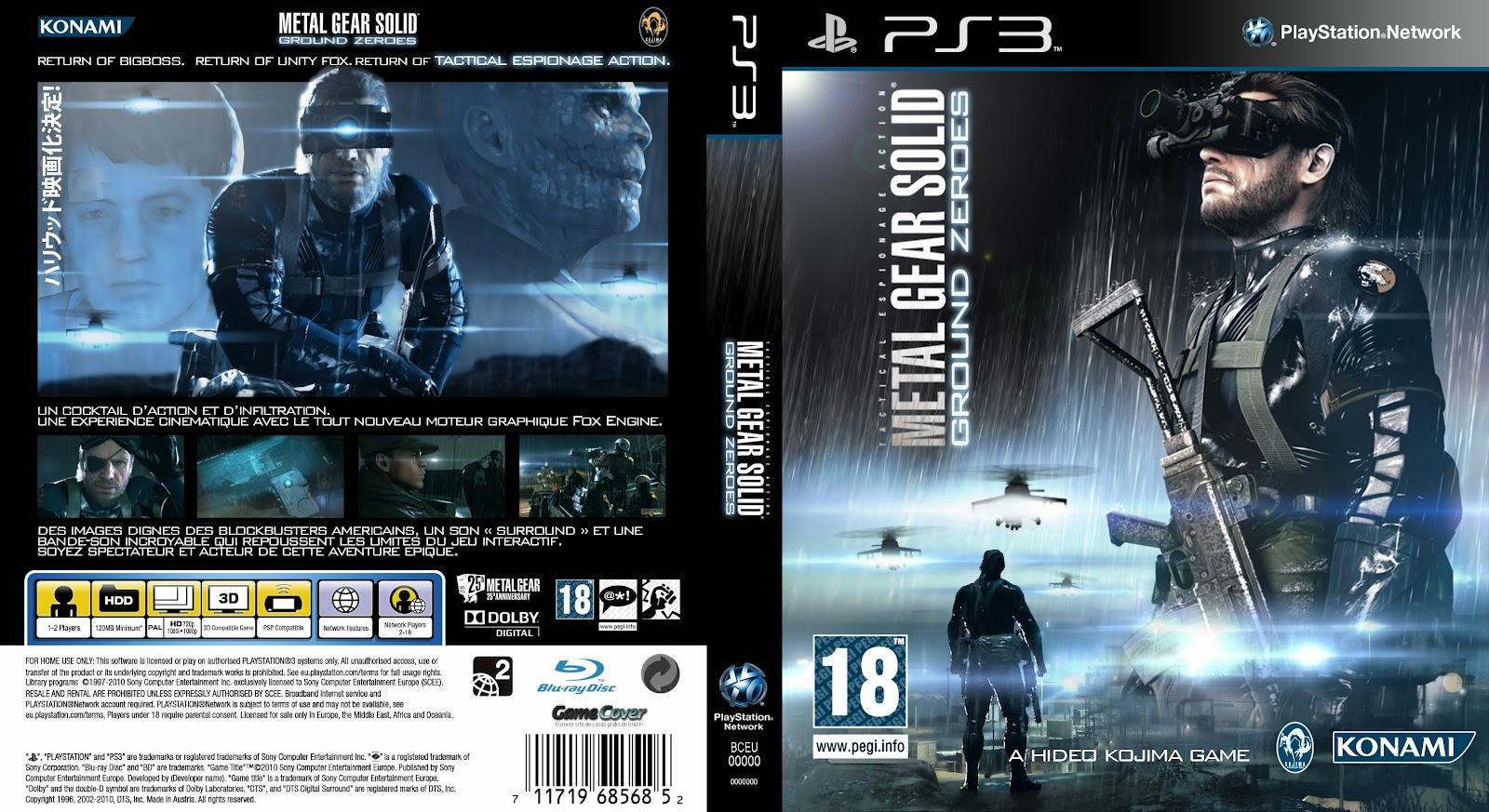 Capa Metal Gear Solid Ground Zeroes PS3