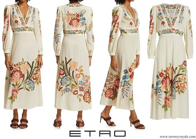 Princess Sofia wore ETRO Santa Barbara Floral A-Line Long Puff-Sleeve Maxi Dress