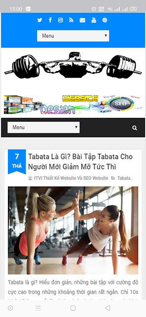 Mẫu website Fitness giao diện điện thoại