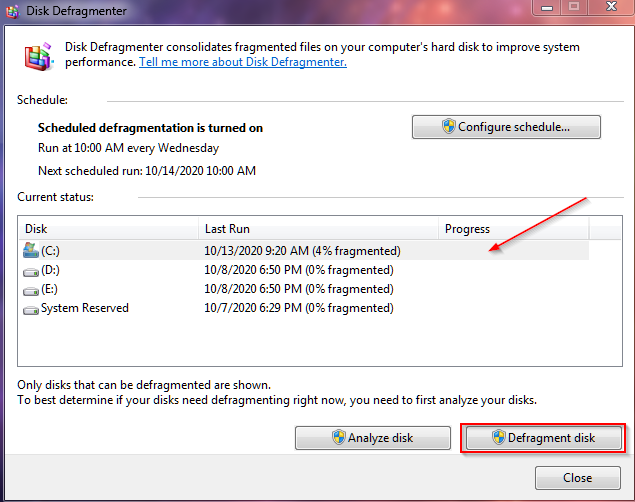 defragment disk to increse data access speed