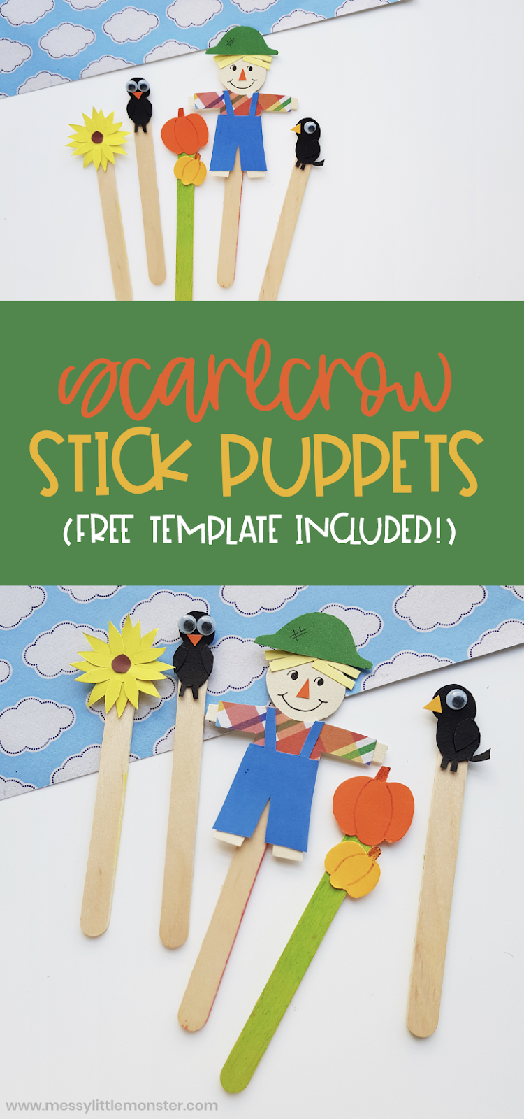 Scarecrow craft. Popsicle stick puppets with scarecrow template. Easy fall craft for kids.