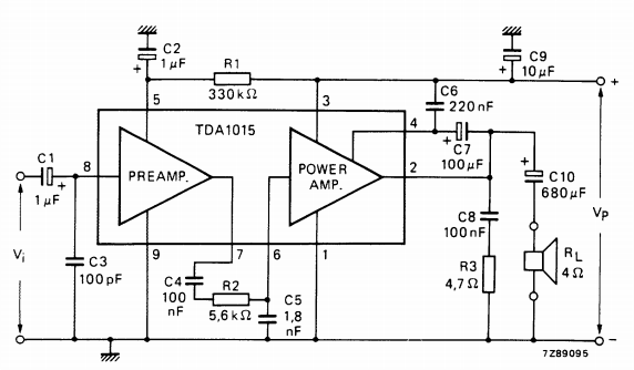 Circuit diagram TDA1015 Audio Amplifier 1x4W