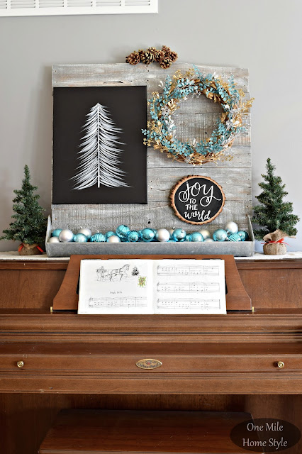 Silver and Blue Christmas Piano Display | Christmas Home Tour - One Mile Home Style