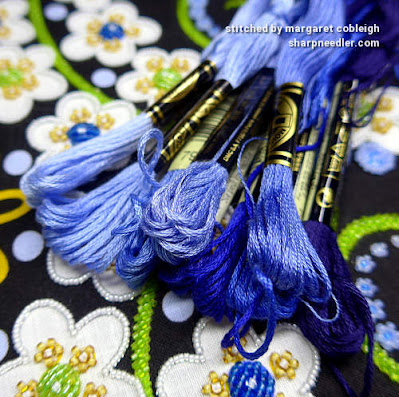 Bead Embroidery with Thread Painting: A selection of DMC blue floss. (Wild Child Japanese Bead Embroidery by Mary Alice Sinton)