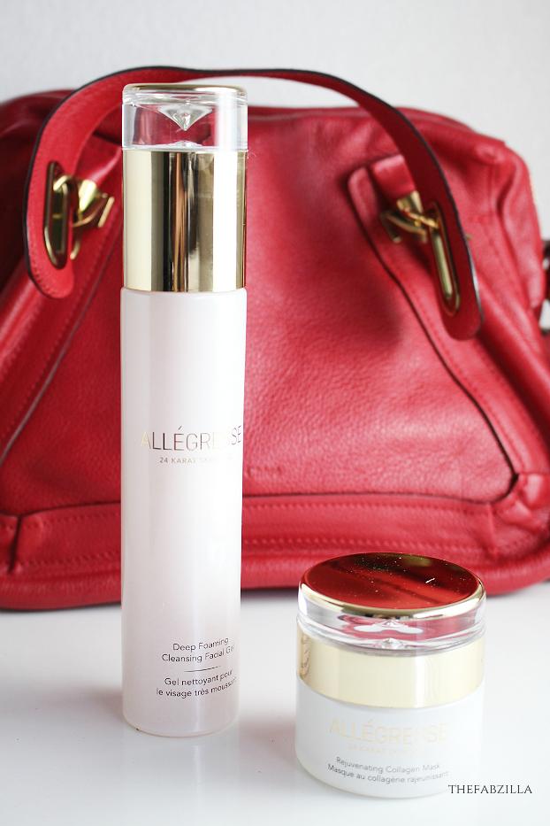 allegresse 24 karat skincare review, allegresse rejuvenating collagen mask review, allegresse deep foaming cleansing facial gel review