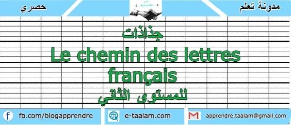 جذاذات Le chemin des lettres français للمستوى الثاني ابتدائي