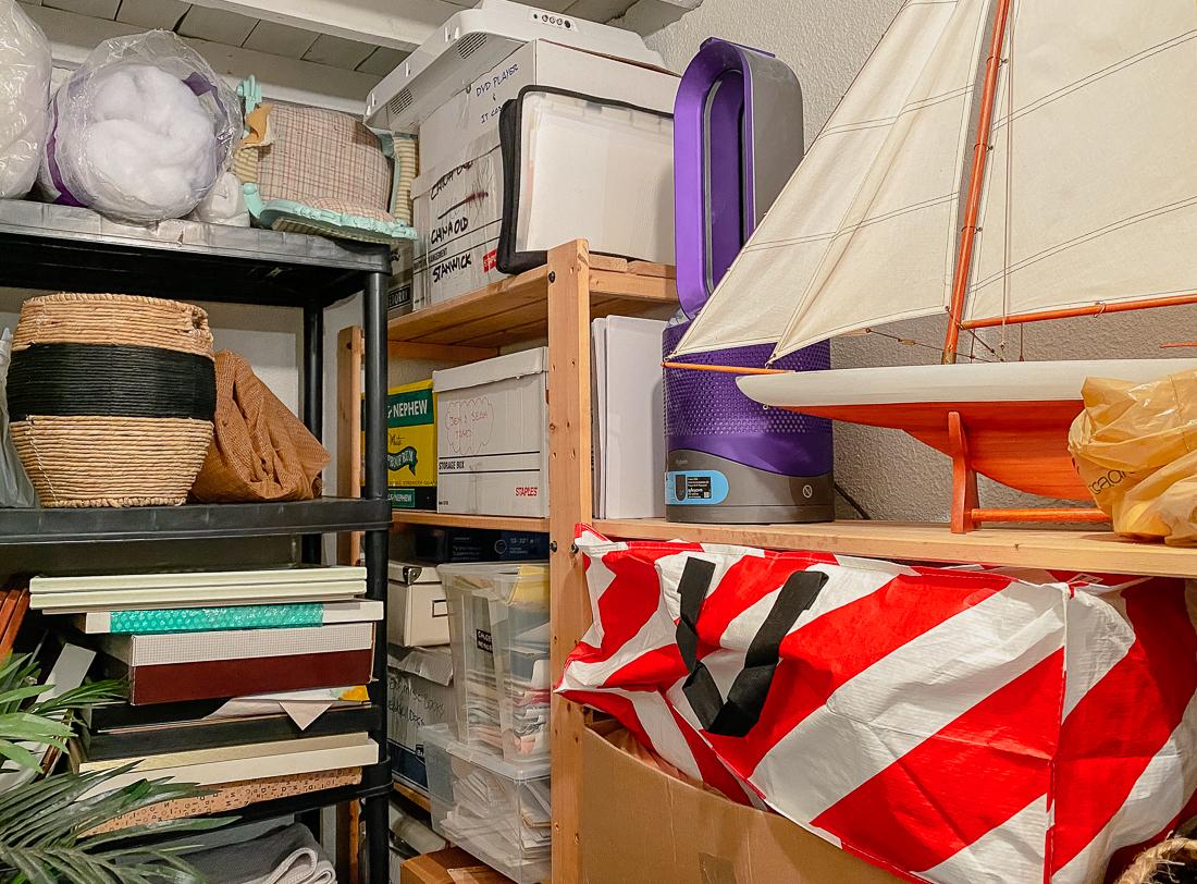 basement storage room, basement storage ideas, basement shelving, unfinished basement ideas