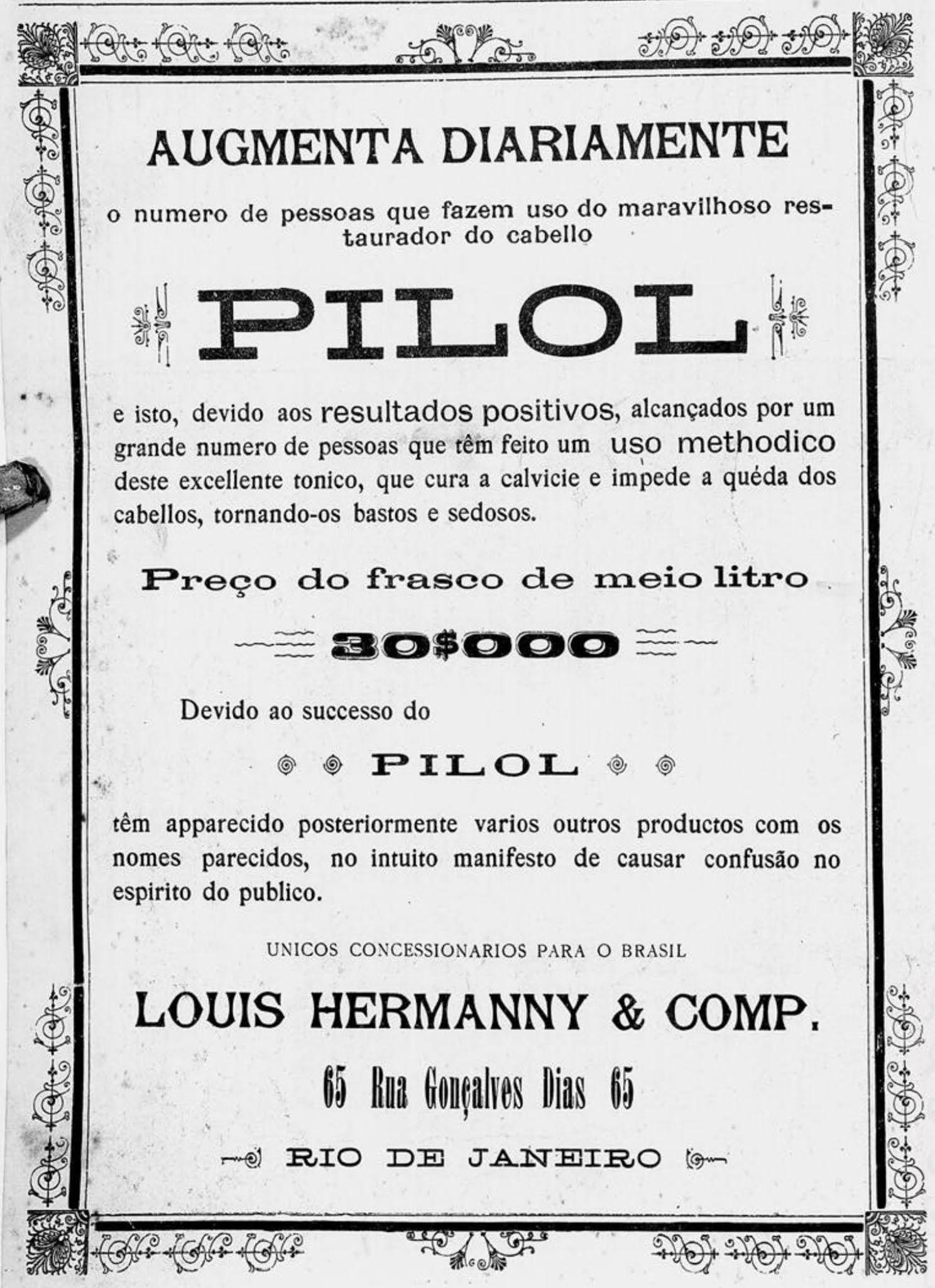 Anúncio de produto pra combater calvície no ano de 1906