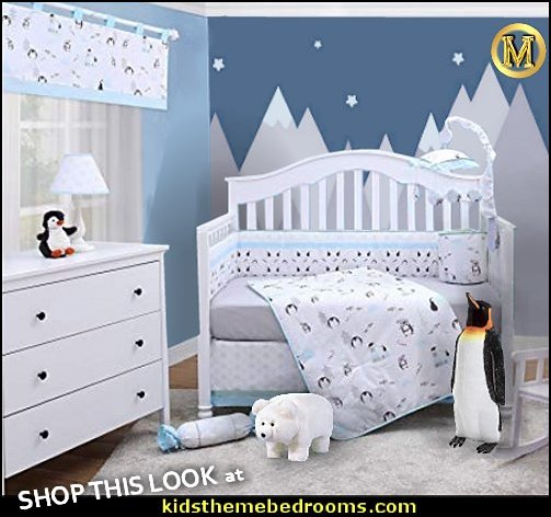 Penguin arctic baby Nursery Crib Bedding penguin bedroom decor arctic animals baby nursery  Emperor Penguin Plush Stuffed Animal  Frosty Polar Bear Ride-on Footstool  Penguin Baby Room Decor
