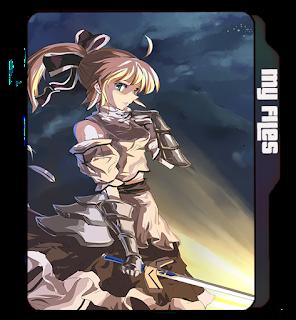 Anime folder icon, Blonde girl, anime, Sword, Warrior girl, blade, cartoon girls icons.