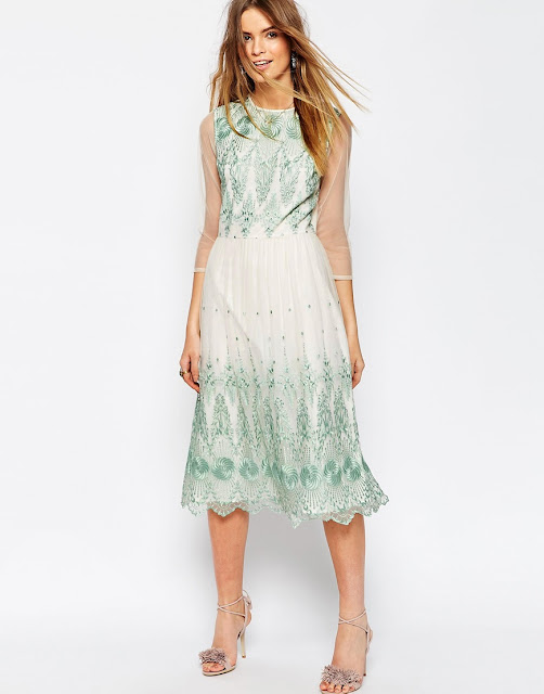 green embroidered white midi dress,