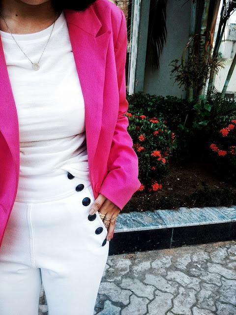 Zara White Tee, Levi's White Denim,Only Pink Blazers , Mango Black Boots