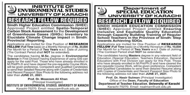 Latest Sindh Higher Education Commission Jobs 2021 For Research Fellows