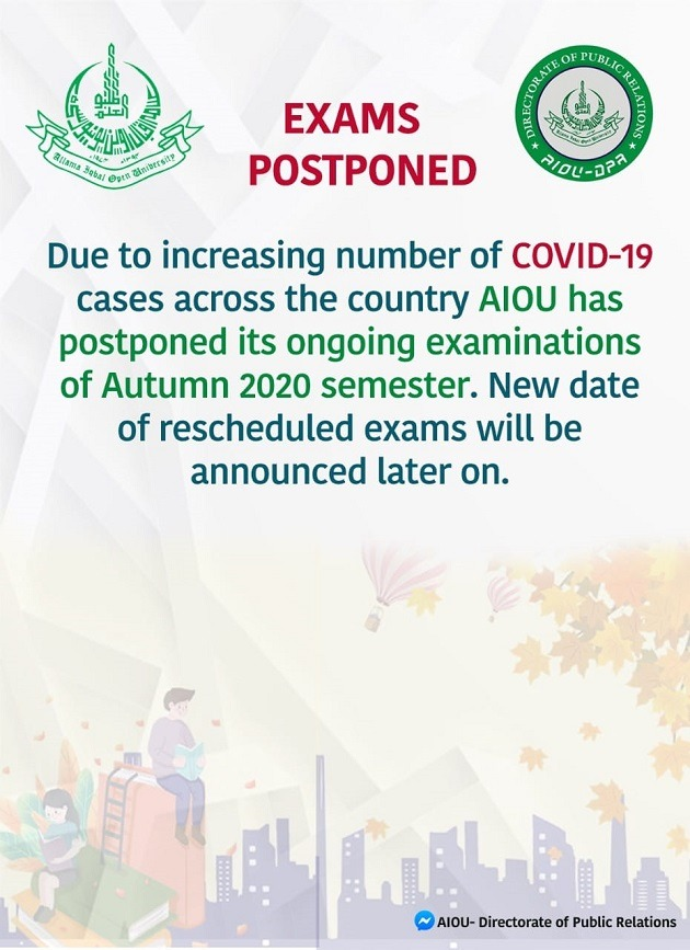 AIOU Autumn Semester 2020 Exams Postponed
